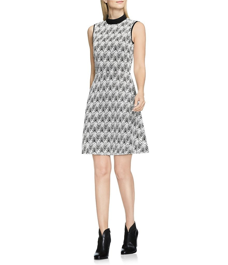 Vince Camuto Mock Neck Sleeveless Herringbone Jacquard Dress