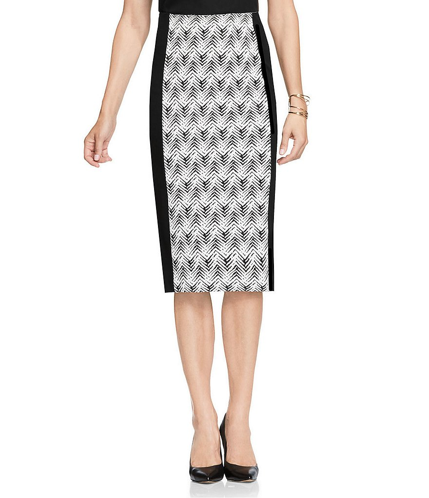 Vince Camuto Herringbone Jacquard Pencil Skirt