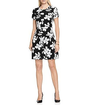 Vince Camuto Short Sleeve Fresco Blooms Fit-and-Flare Dress