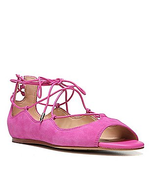 Sam Edelman Barbara Suede Peep-Toe Ghillie Lace-Up Sandals