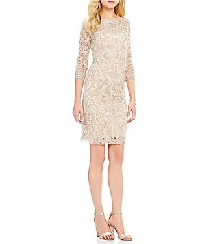 Tadashi Shoji Illusion Round Neck 3/4 Sleeve Lace Sheath Dress
