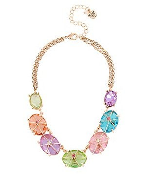 Betsey Johnson Wire-Wrapped Stone Frontal Necklace