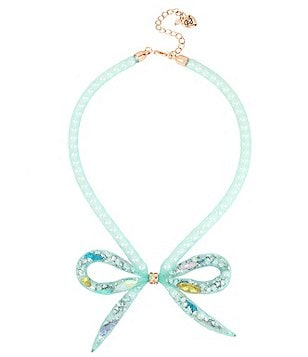 Betsey Johnson Faux-Pearl-Filled Mesh Tube Bow Frontal Necklace