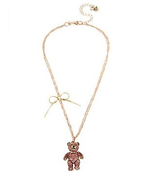 Betsey Johnson Pavé Teddy Bear & Bow Pendant Necklace