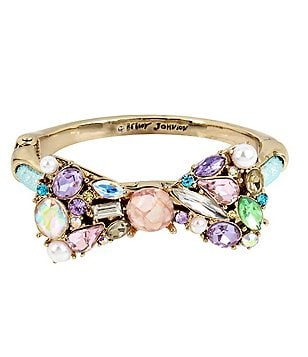 Betsey Johnson Stone & Faux-Pearl Bow Mesh Tube Bangle Bracelet
