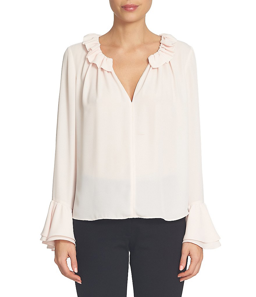 CeCe Long Ruffled Sleeve & Collar Keyhole Blouse