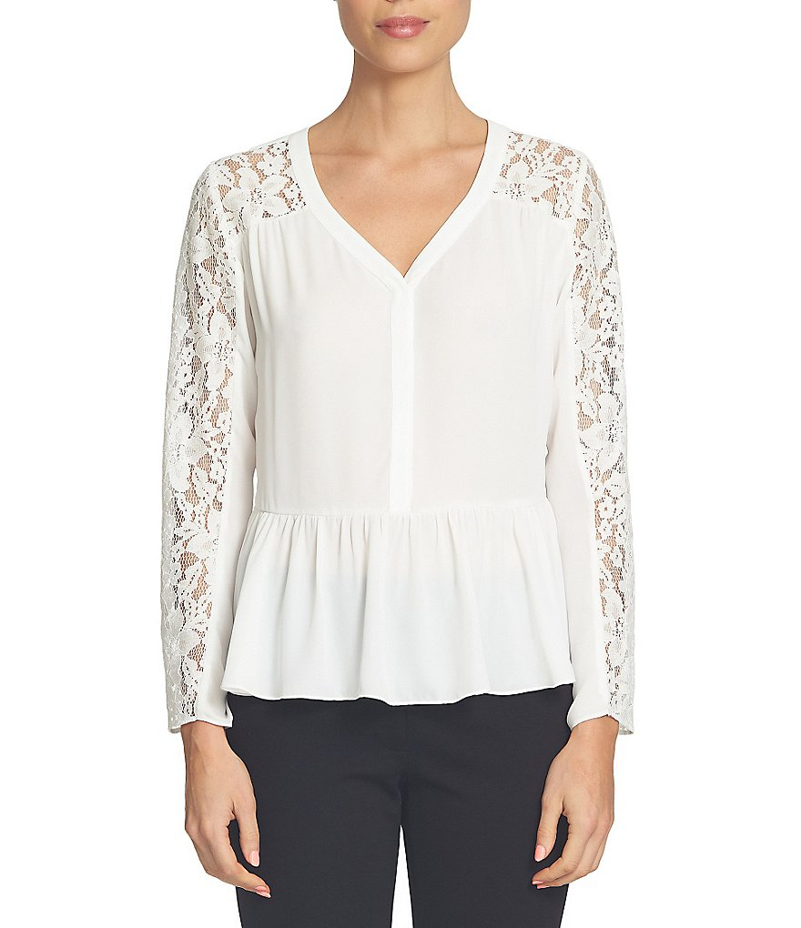 CeCe Lace Sleeve Ruffled Peplum V-Neck Blouse