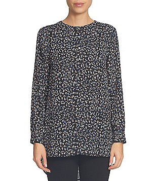 CeCe Ditsy Touches Long Sleeve Hi-Low Henley Printed Blouse