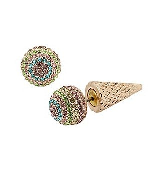 Betsey Johnson Pavé Ice Cream Cone Front/Back Earrings