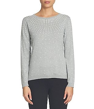 CeCe Long Sleeve Ombred Peal Encrusted Pullover Sweater