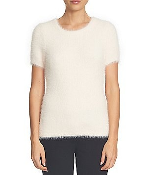 CeCe Short Sleeve Faux-Fur Crew Neck Fuzzy Sweater Shell