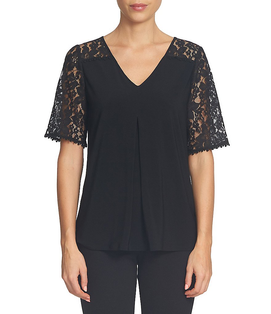 CeCe Floral Lace Sleeve Invert Pleat Top