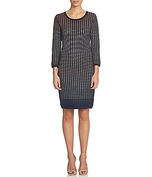 CeCe Jacquard Ombre Grid Bodycon Sweater Dress