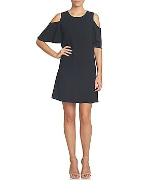 CeCe Moss Crew Neck Crepe Ruffled Cold-Shoulder Solid Shift Dress