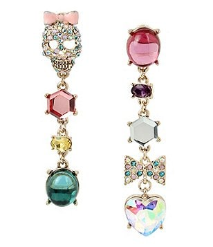 Betsey Johnson Pavé Skull, Bow & Heart Mismatched Linear Drop Statement Earrings