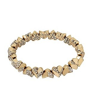 Betsey Johnson Geometric Pavé Heart Stretch Bracelet