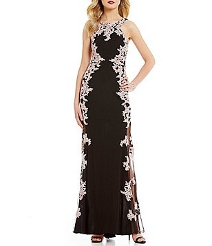 Xscape Lace Applique Halter Sleeveless Gown