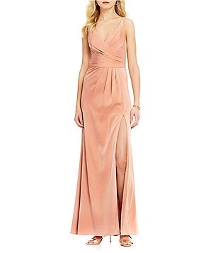 Xscape Long Satin Faux-Wrap V-Neck Sleeveless Front Slit Gown