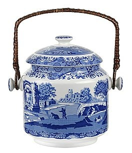 Spode Blue Italian 200th Anniversary Biscuit Barrel Image