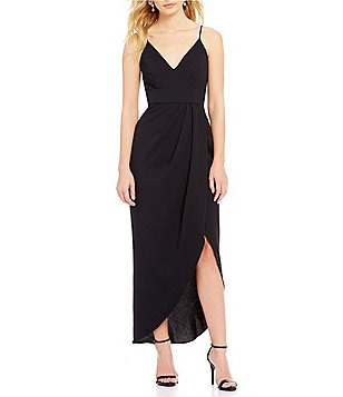 Xscape Faux Wrap Tulip Hem Midi Dress
