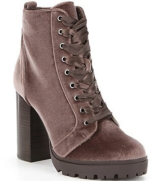 Steve Madden Laurie Velvet Lace-Up Block Heel Booties