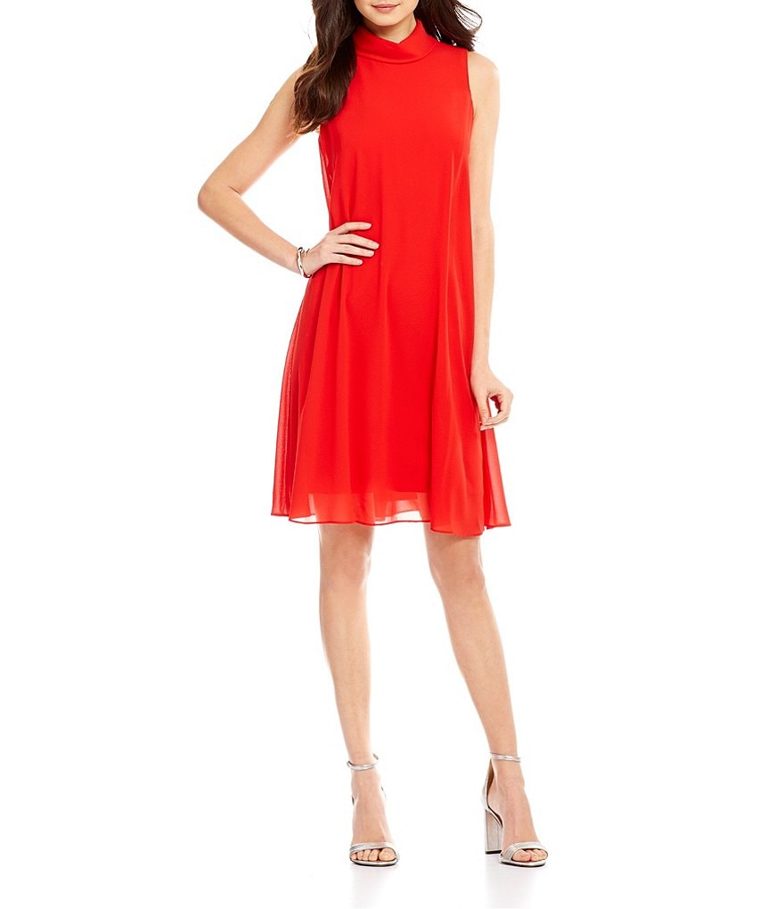 Vince Camuto Mock Neck Sleeveless Chiffon Dress
