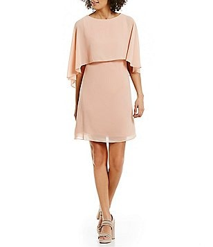 Vince Camuto Boat Neck Sleeveless Popover Solid Chiffon Cape Dress