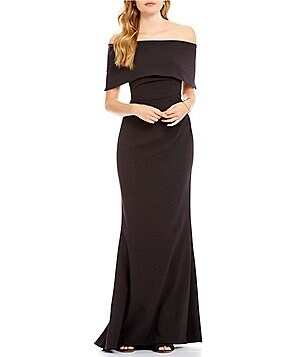 Vince Camuto Off-The-Shoulder Cap Sleeve Solid Gown