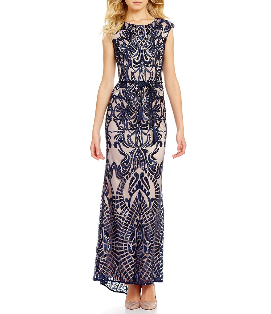 Vince Camuto Boat Neck Cap Sleeve Lined Sequin Gown