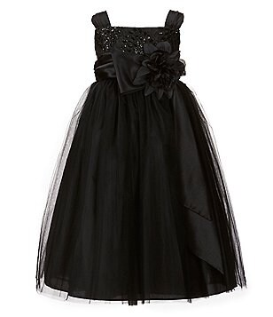 Chantilly Place Little Girls 2T-6X Floral-Appliqué Brocade-Tulle Dress