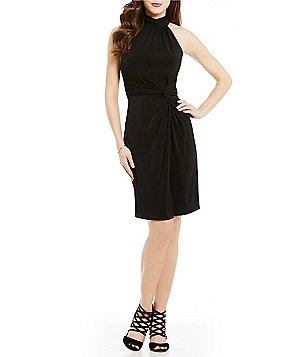 CATHERINE Catherine Malandrino Mock Neck Sleeveless Faux-Wrap Dress