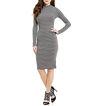 CATHERINE Catherine Malandrino Mock Neck Striped Rib Knit Midi Dress