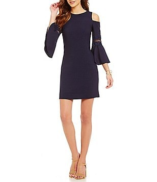 Eliza J Cold-Shoulder Bell Sleeve Sheath Dress