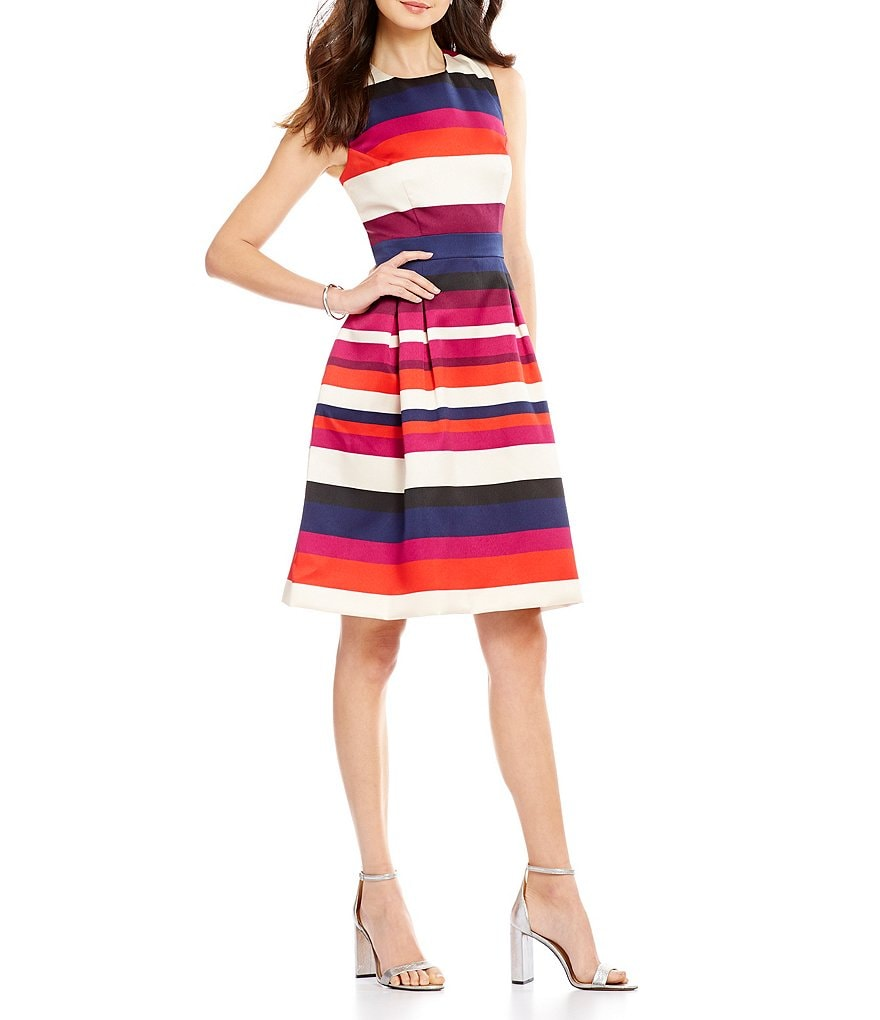 Vince Camuto Stripe Mikado Tank Fit-and-Flare Dress