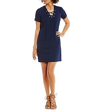 CATHERINE Catherine Malandrino Lace-up Shift Dress