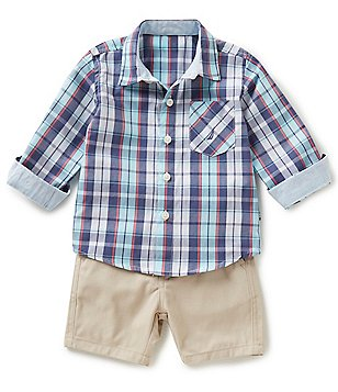 Nautica Baby Boys 12-24 Months Plaid Long-Sleeve Shirt & Solid Shorts Set