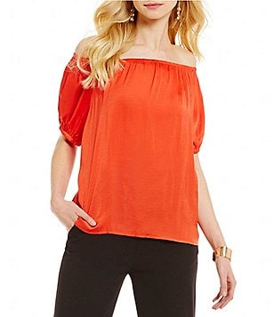 CATHERINE Catherine Malandrino Off-the-Shoulder Elbow-Sleeve Hammered Charmeuse Blouse