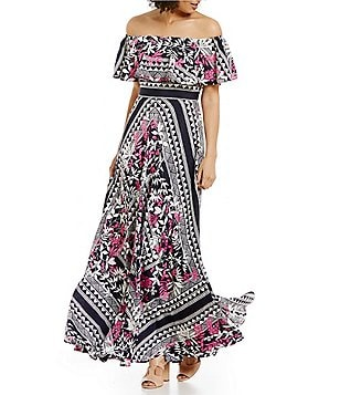 Eliza J Off-The-Shoulder Scarf Printed Maxi Dress