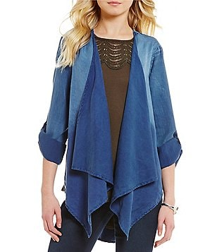 Bobeau Long Sleeve Draped Open Front Tie-Dye Shell Jacket
