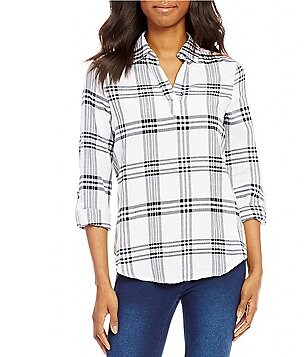 Westbound Petites Point Collar Roll-Tab Sleeve Split Back Hi-Low Plaid Shirt