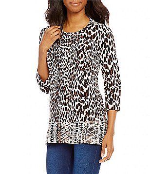 Westbound Petites Crew Neck 3/4 Sleeve Single Pocket Hi-Low Printed Tunic