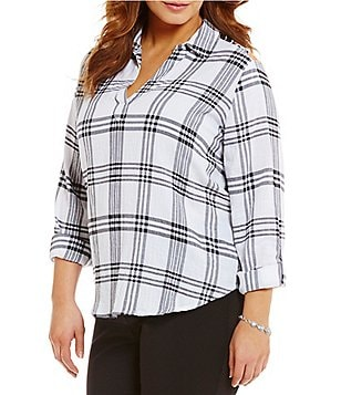 Westbound Plus Point Collar Roll-Tab Sleeve Split Back Hi-Low Plaid Shirt