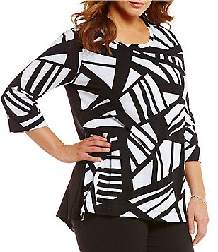 Westbound Plus Crew Neck 3/4 Sleeve Single Pocket Printed Tunic