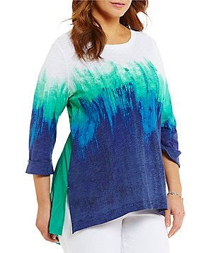 Westbound Plus 3/4 Sleeve One-Pocket Hi-Low Hem Tunic