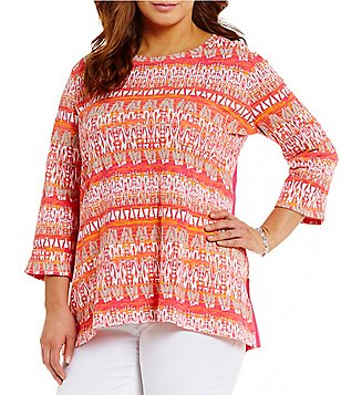 Westbound Plus Crew Neck 3/4 Sleeve One-Pocket Tunic