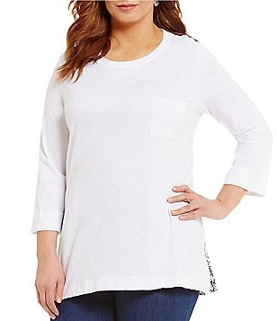 Westbound Plus 3/4 Sleeve Single Pocket Solid Tunic