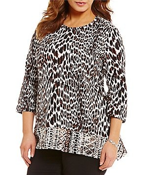 Westbound Plus Crew Neck 3/4 Sleeve Single Pocket Hi-Low Printed Tunic