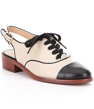 Sam Edelman Damian Leather Color-Block Lace-Up Sling-Back Oxfords