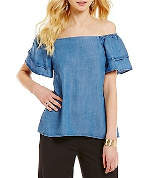 CATHERINE Catherine Malandrino Chambray Off-The-Shoulder Ruffle Short Sleeve Blouse
