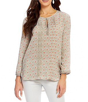Sigrid Olsen Keyhole Neck Long Sleeve Tile Print Blouse